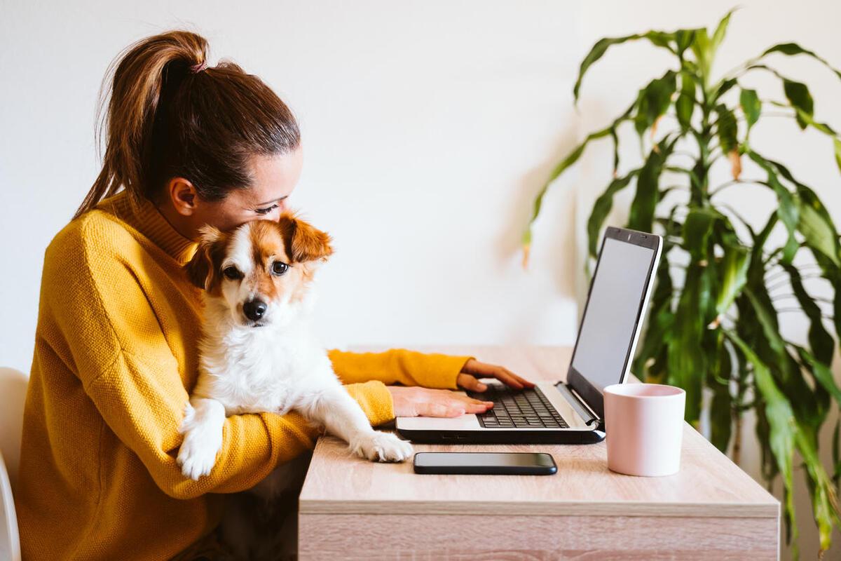Mujer trabajando desde casa con su mascota